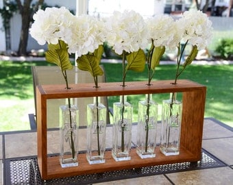 Repurposed Glass Bottle Flower Vase Set made with Solid Cherry