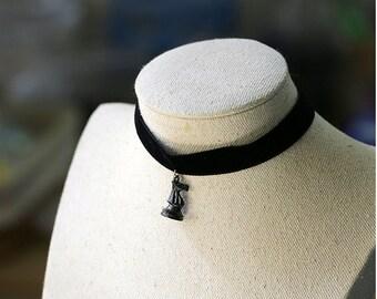 Necklace, Choker, neck Ras, chess, silk velvet, vintage