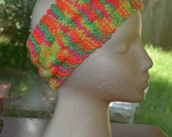 Hand knit cable headband multicoloured