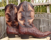 Vintage SUKIE'S Western Couture Collection Vintage  Brown Ostrich Leather Mens Cowboy Boots Mexico Size 44 Western Style Hand Made Boho