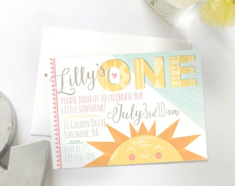Sunshine Birthday Invitation, Printable DIY Invitation