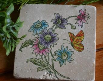 Handmade Travertine Tile Flower and Butterfly Coaster Set