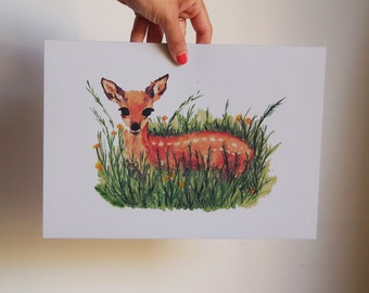 Print illustatrion drawing wall art Th deer