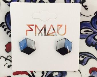 Hexagon cube handmade earrings