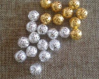 spacer beads 10 of 12 mm filigree metal