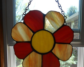 Vintage Suncatcher Stained Glass and Lead Orange Yellow