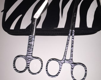 Hemostats and Bandage Scissors with Matching Case Beautiful Cool Black and White Zebra Pattern!