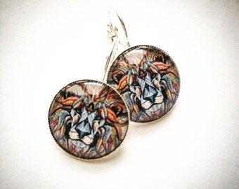 Lion mandala earrings