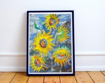 Original oil painting sunflower Sunflower palette knife Realistic painting Palette knife  canvas Oil yellow flower Painting sunflower bloom