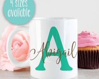 Custom Monogram Mug, Personalized Mug, Gift For Bridesmaid, Maid Of Honor, Matron Of Honor, Gift For Friend, Initial Mug, Calligraphy Name
