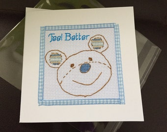 Get Well Soon Teddy Bear Completed Cross Stitch Card