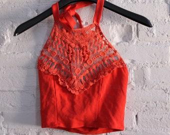 Orange Knit Hippy Halter Crop Top