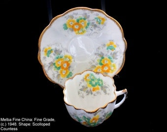 Melba Fine China teacup and saucer