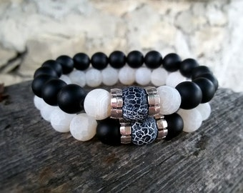 His and Her bracelets Couple bracelet set Yin Yang Matching bracelet Onyx Agate Relationships bracelets for Couples Black White bracelet Set