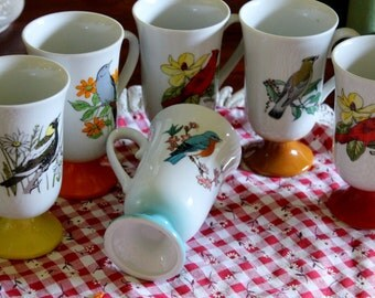 Vintage porcelain pedestal coffee mugs,songs Birds.Home and Living, coffee Mugs, kitchen and Dining, Kitchen and serving, collectibles
