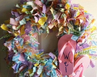 Fun welcome fabric wreath.
