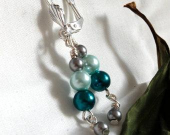 Blue and White Imitation Handmade Pearl Earrings