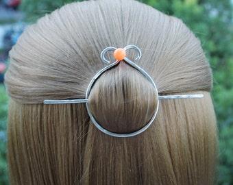 Circle Hair Clip Hair Pin, Silver Circle Hair Slide Hammered Hair Stick Minimalist Rustic Nickel Silver Hair Accessory Shawl Pin Gift