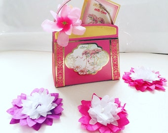 Flamingo Paradise 3D Miniature Giftbag (with giftcard and embellished flowers)