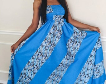 African print dress, african women clothing, african fabric strapless dress, summer dress, african blue dress, african summer dress