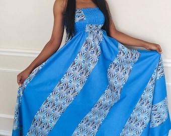 African print dress, african women clothing, african fabric strapless dress, summer dress, african blue dress, african summer dress