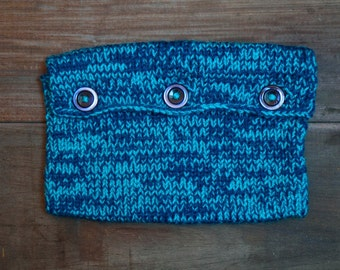 Knitted Book Pouch - Light & Dark Blue
