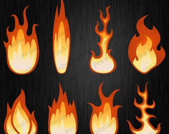 8 Fire clipart, Flame clipart, digital fire, digital flame, glow clipart, burn clipat, lights clipart, effect Photoshop,scrapbooking clipart