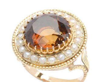 Honey Citrine Pearl Ring and Freshwater Pearls Yellow Gold Vintage 1935's