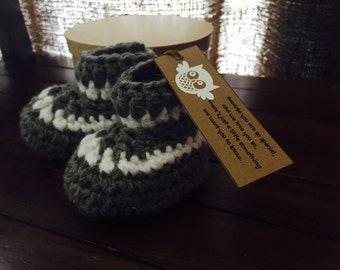 leather and sheepskin soled slippers, booties, pregnancy announcement