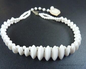 Vintage Japan White Milk Glass Choker Necklace, Jewelry 1950s, Beaded, Mid-century, Short