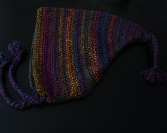 Childs purple/green/orange multicoloured adorable pixie hat.