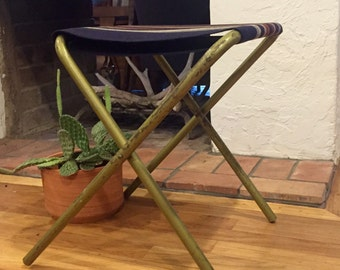 Metal folding camp stool with Pendelton fabric