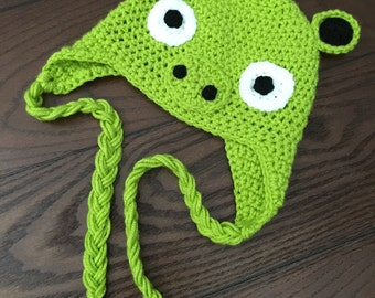 Angry birds hat, crochet angry birds hat, crochet pig hat, angry birds pig hat, crochet character hat, crochet kids hat, character hat