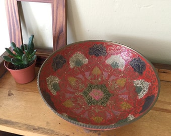 Hand Painted Boho Etched Painted Brass Indian Pedestal Bowl Goel India