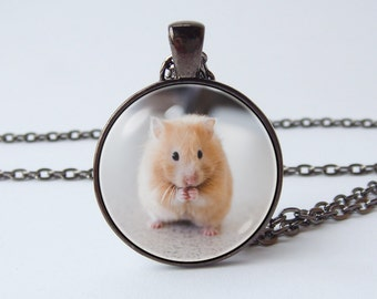 Hamster necklace Hamster pendant Hamster jewelry Hamster accessories Cute pet necklace Kids necklace Baby animal jewellery Hamster pet