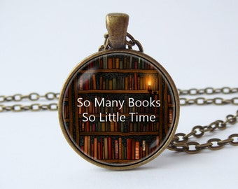 Bookworm necklace Book jewelry Librarian jewelry Book lover necklace Reader gift Old library necklace Bibliophile Book pendant Library