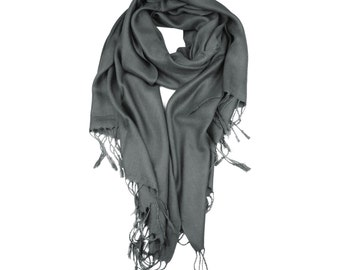 Dark Gray Supersoft plain Pashmina Shawl - the perfect bridesmaid gift or wedding favor
