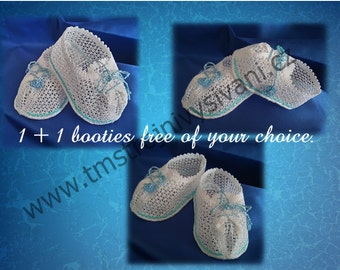 Baby  booties lace blue-machine embroidery-original baby booties lace design