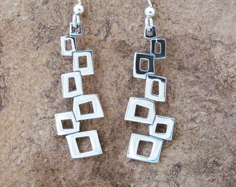 Stacked Blocks Silver Earrings