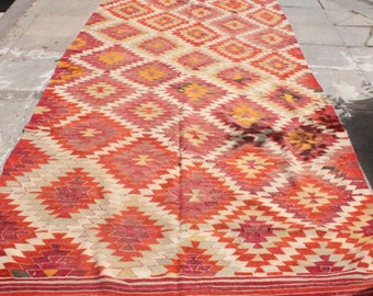 Orange diamond pattern handwoven vintage kilim rug - 11 x 5 ft