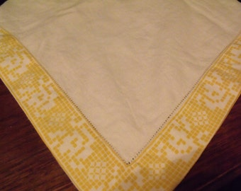 Small Square Linen Table Cloth/Runner with Yellow patterned Edging