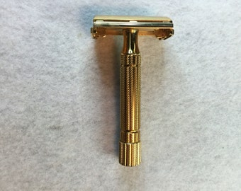 Gillette Deluxe 1955 A2 Gold Plated Safety Razor TTO
