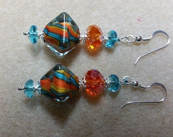 Handmade Lamp-work and crystal Aqua/Orange Earrings