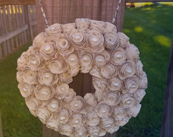 Hanging paper rose wreath