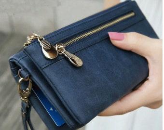 Women's Wallet - Multi-colors Polish Leather Day Clutch Purse Wristlet