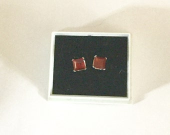 Garnet and Sterling Silver Square Stud Earrings