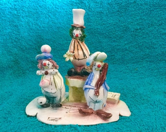 A Zam Piva sculpture of Three Clowns, ceramic, glazed.