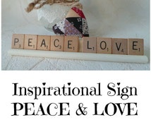 Scrabble Tile Word Signs, 'PEACE LOVE', 'Dream On',  'Be Happy'  Inspirational Signs,  Office Signs, Kitchen Signs, Wood Signs, Personalized