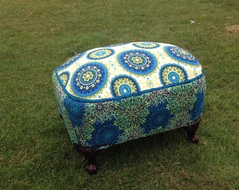 Bohemian style foot stool - upcycled from vintage ottoman