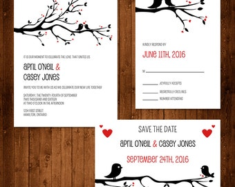 Love Birds Wedding Invitation Set ~Digital~